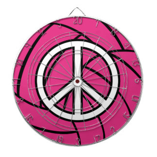 Pink Volleyball Peace Sign Dartboard