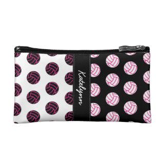 Pink Volleyball Polka Dot Pattern Wristlets & Bags