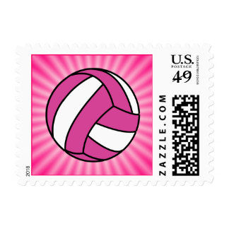 Pink Volleyball Postage Stamps