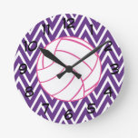 Pink Volleyball Purple Chevron Zigzag Wall Clock