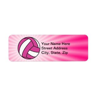 Pink Volleyball Return Address Label