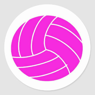 Pink Volleyball Round Stickers