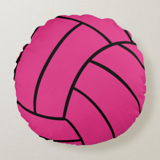 Pink Volleyball Round Throw Pillow