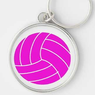 Pink Volleyball Silver-Colored Round Keychain