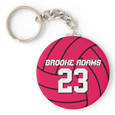 Beach Themed Pink Volleyball Sports Team Athletes Keychain