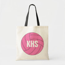 Pink Volleyball Tote Bag with Custom Text
