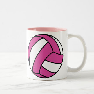Pink Volleyball Two-Tone Coffee Mug