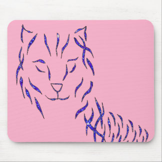 Pink w Purple Sparkle Cat Kitty Girly Girl Stuff Mouse Pad