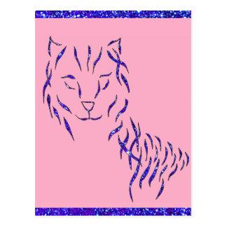 Pink w Purple Sparkle Cat Kitty Girly Girl Stuff Postcard