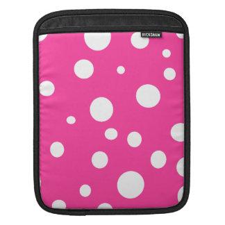 Pink w White Polka Dots Customizable Fashion Sleeve For iPads