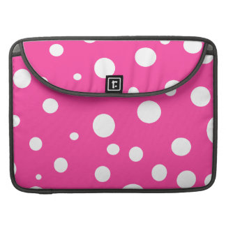 Pink w White Polka Dots Customizable Fashion MacBook Pro Sleeves