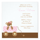 Pink Wagon Bear Baby Shower Personalized Invites