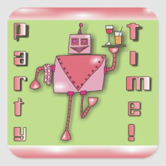Pink Waiter Robot with Tray of Drinks Stickers