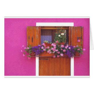 Pink Wall in Burano Greeting Card