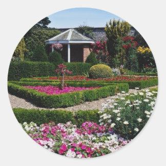 Pink Walled garden, Sewerby, Britain flowers Round Stickers