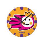 Hand shaped Pink Warrior Princess Round Wall Clock