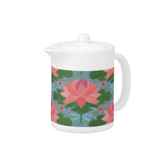 Pink Water Lilies and Dragonflies China Teapot