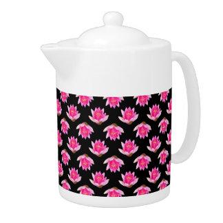 Pink Water Lilies Black Design Teapot