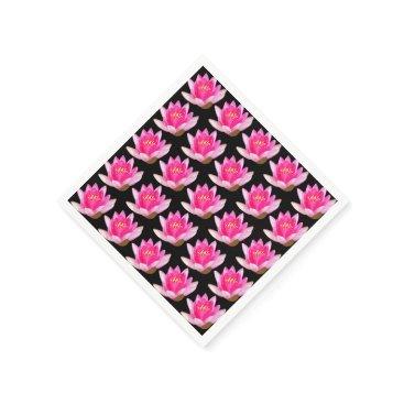 linda_mn Pink Water Lilies Black Paper Napkin