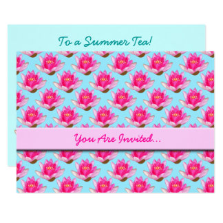 Pink Water Lilies Blue Card