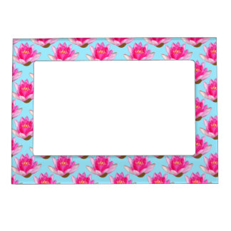 Pink Water Lilies Blue Magnetic Photo Frame