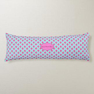 Pink Water Lilies Blue Polka Dots Body Pillow