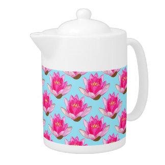 Pink Water Lilies Blue Teapot