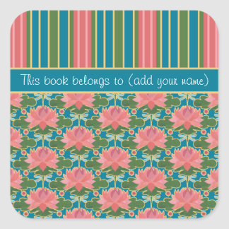 Pink Water Lilies, Dragonflies, Custom Bookplates Square Sticker