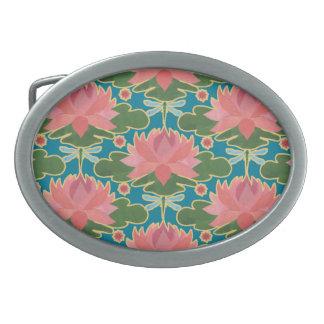 Pink Water Lilies, Dragonflies Oval Belt Buckle