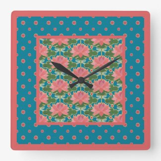 Pink Water Lilies Dragonflies Pendant Wall Clock