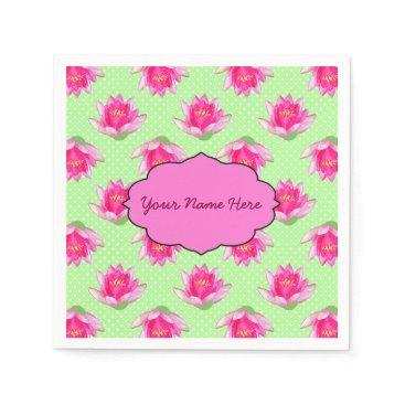 linda_mn Pink Water Lilies Green Polka Dots Napkin