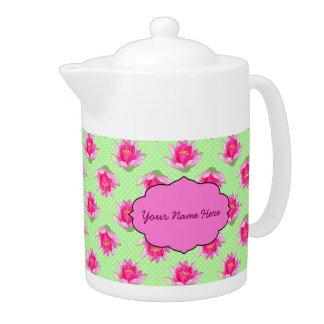 Pink Water Lilies Green Polka Dots Teapot