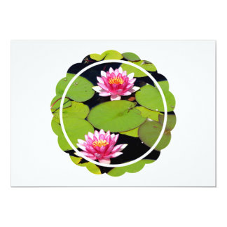 "Pink Water Lilies 5"" X 7"" Invitation Card"