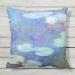 Pink Water Lilies Monet Fine Art Outdoor Pillow