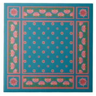 Pink Water Lilies on Deep Blue Ceramic Tile
