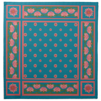 Pink Water Lilies on Deep Blue Set of Napkins
