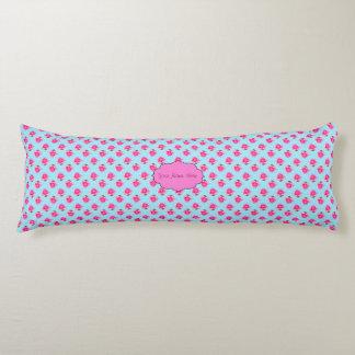 Pink Water Lilies on Light Blue Body Pillow