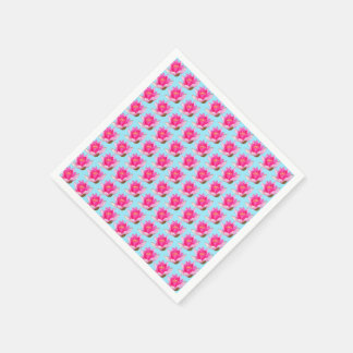 Pink Water Lilies on Light Blue Paper Napkin