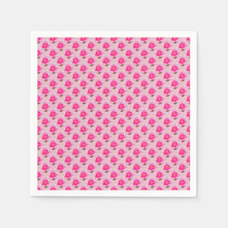 Pink Water lilies on Light Pink Paper Napkin