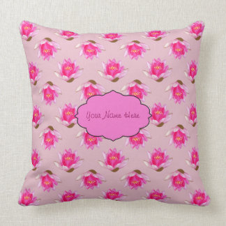 Pink Water lilies on Light Pink Throw Pillow
