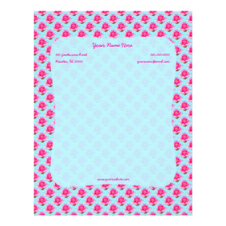 Pink Water lilies on Light Turquoise Letterhead