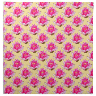 Pink Water Lilies on Yellow Design Napkin