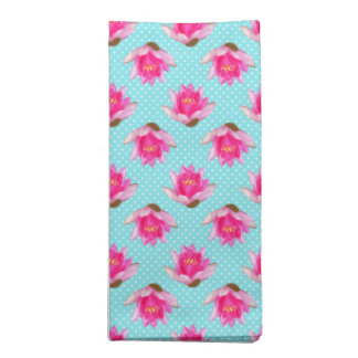 Pink Water Lilies Pastel Blue Polka Dots Cloth Napkin