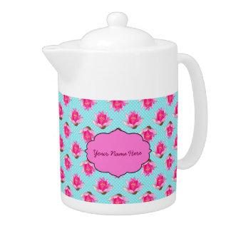 Pink Water Lilies Polka Dots Teapot