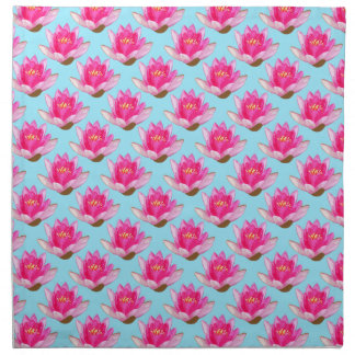 Pink Water Lilies Repeat Blue Background Cloth Napkin