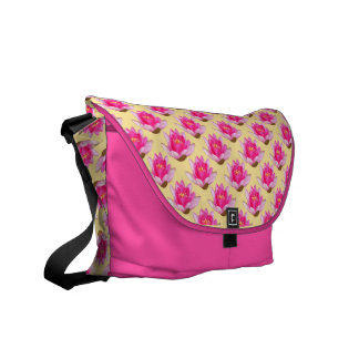 Pink Water Lilies Repeat Yellow Background Messenger Bag