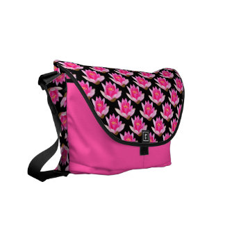 Pink Water Lilies Repeating Messenger Bag