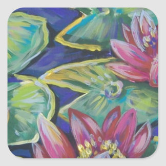 pink water lilies square sticker