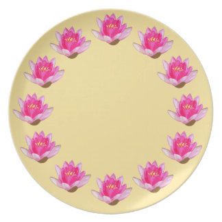Pink Water Lilies Yellow Dinner Plate