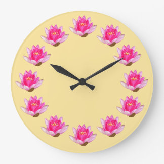Pink Water Lilies Yellow Large Clock